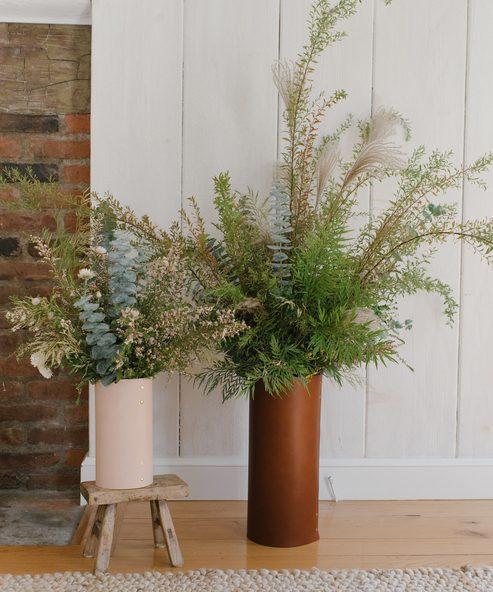 Large Leather Rivet Vase