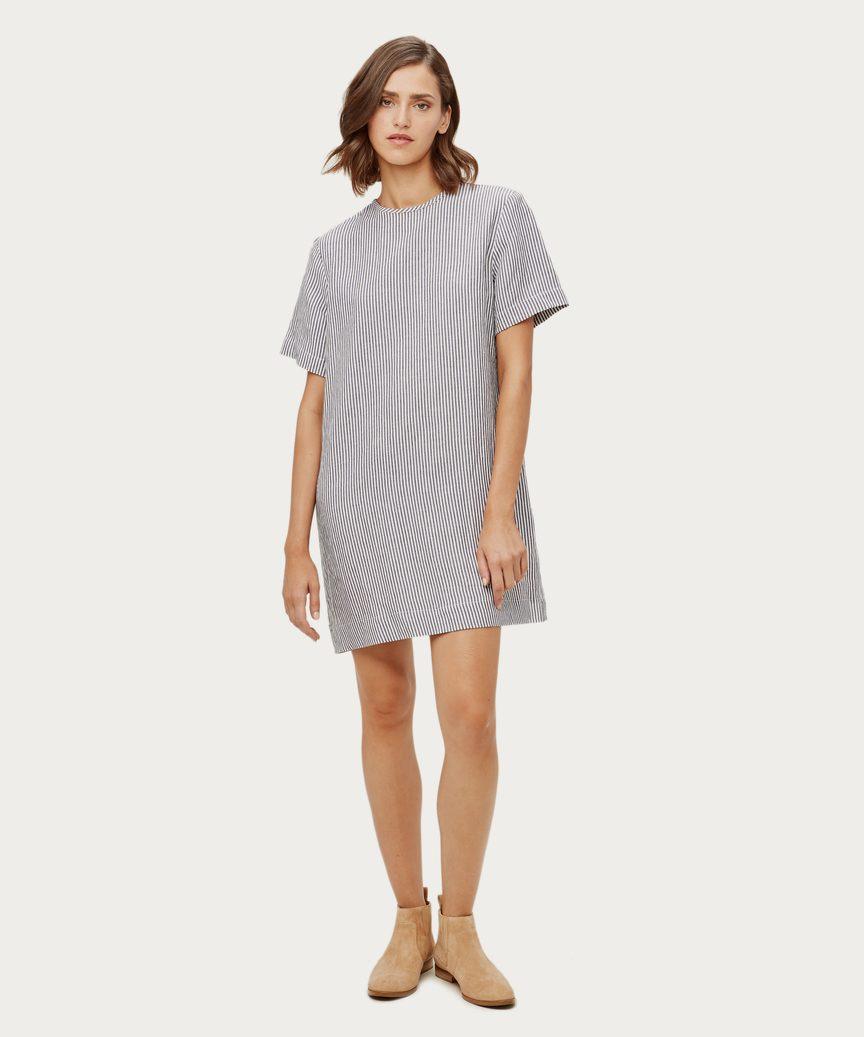 f2d459114c4 Linen Striped T-Shirt Dress - Navy White