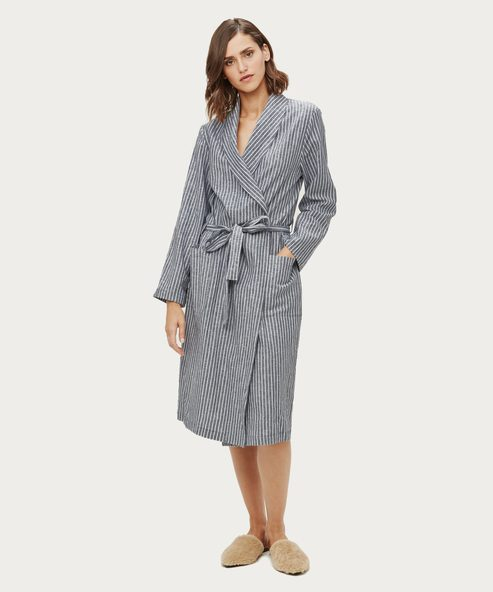 Striped Linen Bathrobe