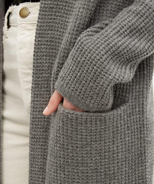 Waffle Hooded Sweater Coat