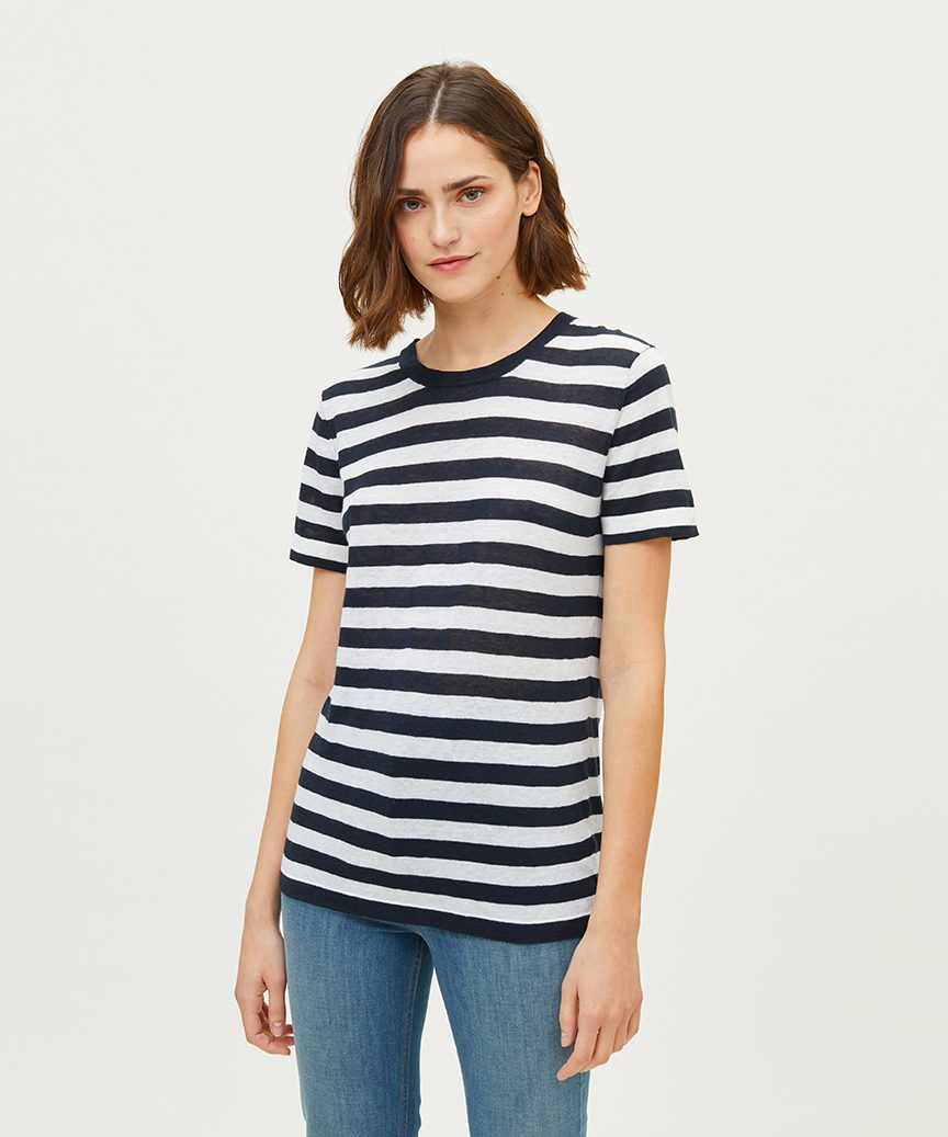 2529aee185 Striped Linen T-Shirt - Navy White