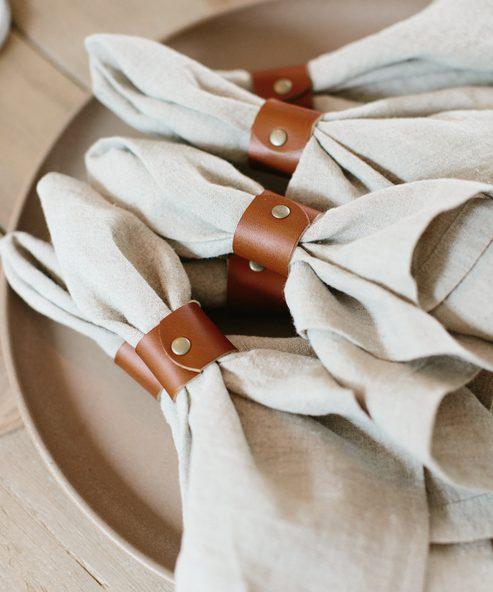 Leather Napkin Ring Set of 4
