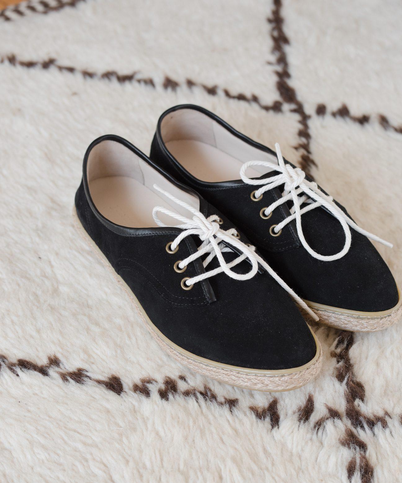 Suede Marina Espadrille Sneaker - Black