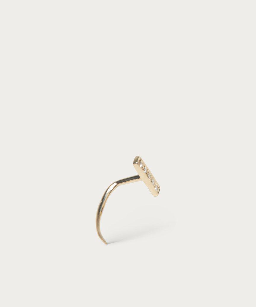 Bar Infinite Tusk Pave Diamond Earring