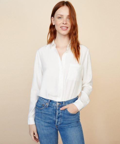 Silk Charmeuse Button-Back Shirt
