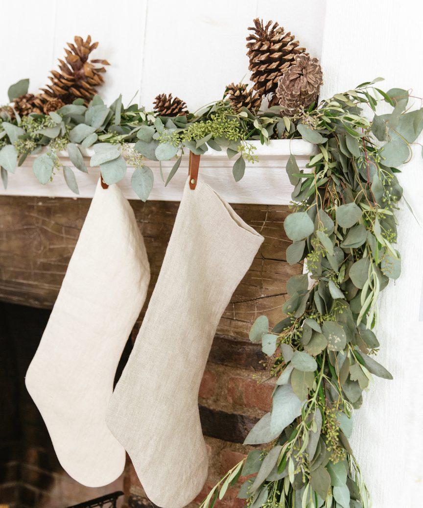 Linen Holiday Stocking