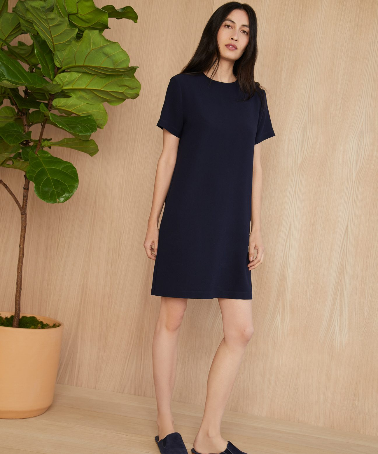 5d74244f5f Crepe T-Shirt Dress - Navy