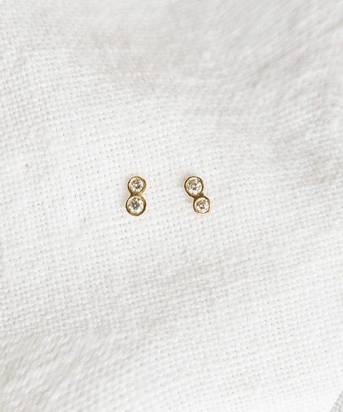 Twin Diamond Stud Earrings