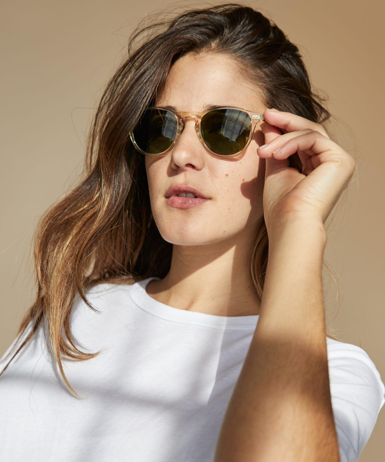 e23cf9df6b3 Hampton Sunglasses - Champagne/Green | Jenni Kayne