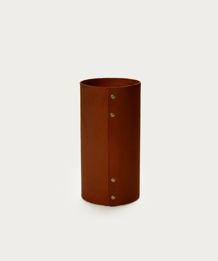 Medium Leather Rivet Vase