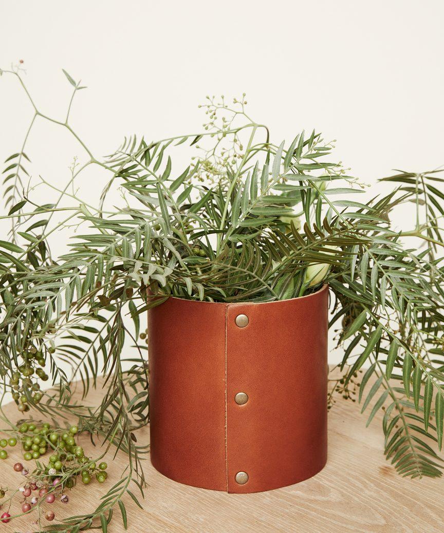 Small Leather Rivet Vase