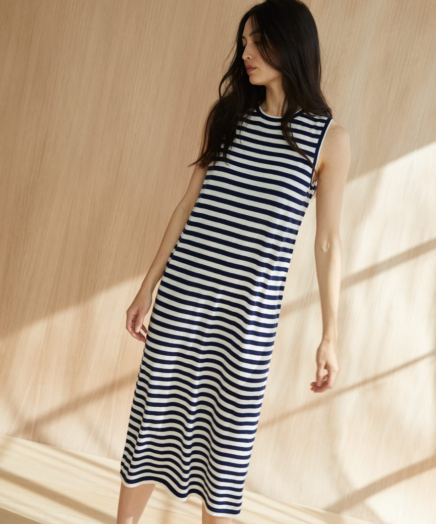 a078c2cfb7 Striped Merino Tank Dress - Navy White