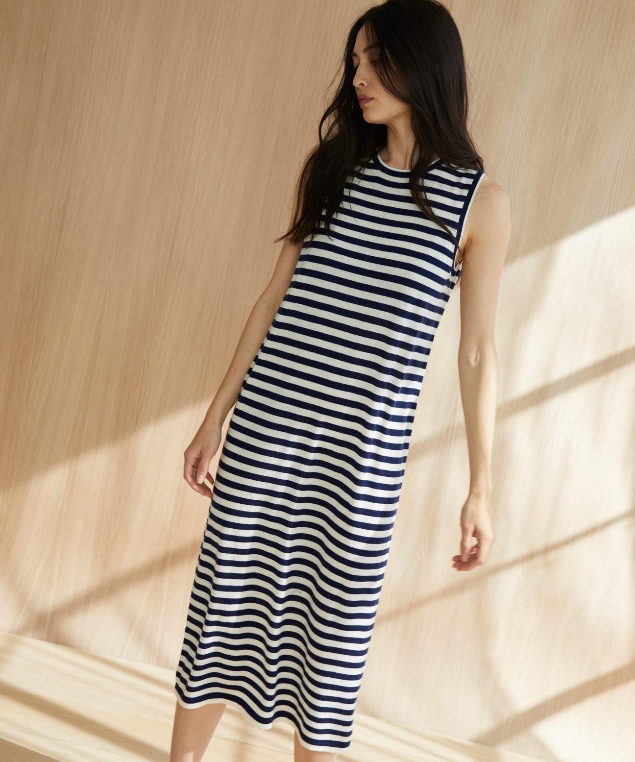 Striped Merino Tank Dress Navy White Jenni Kayne