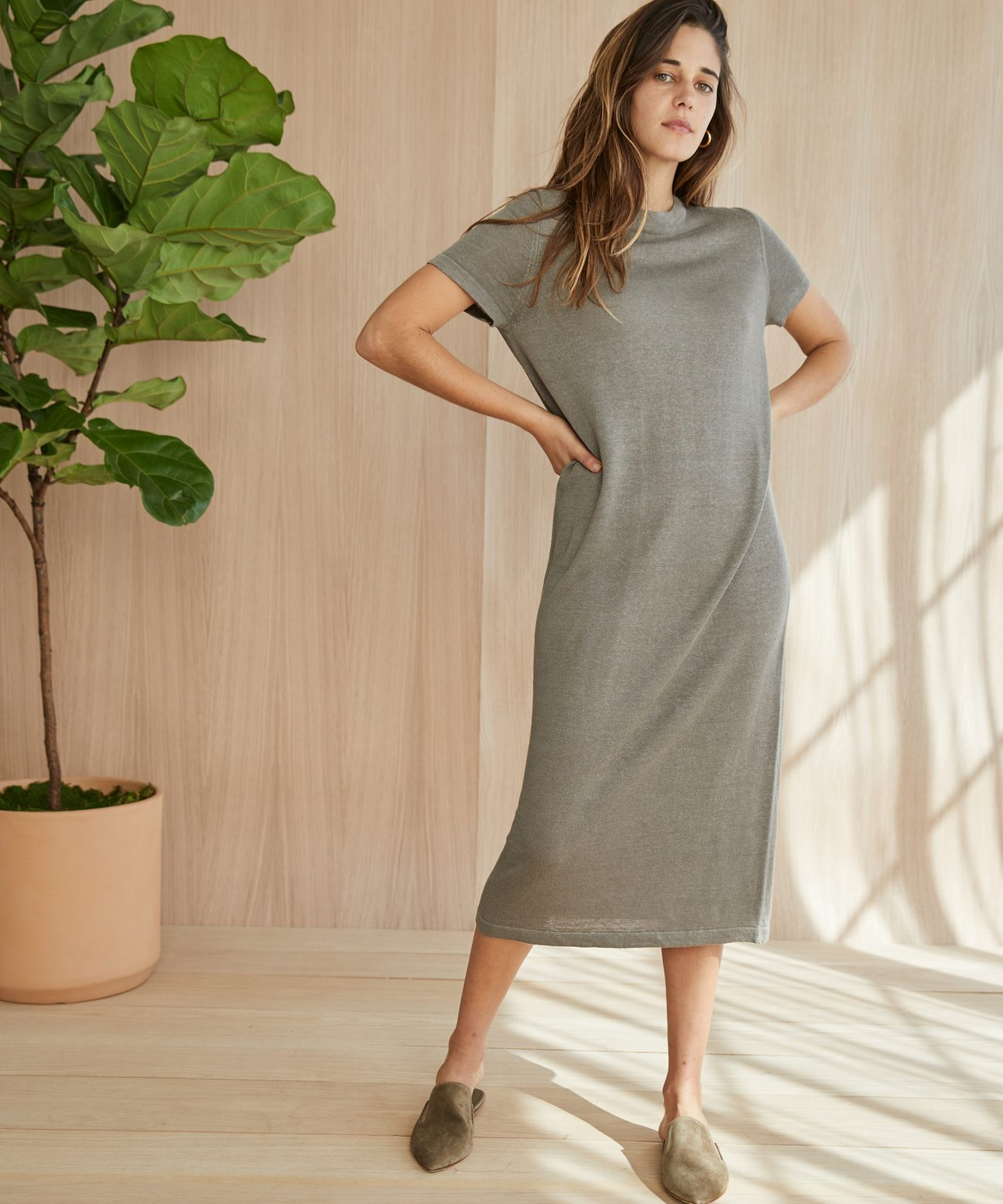 47a7dedc7f Linen Long T-Shirt Dress - Sage