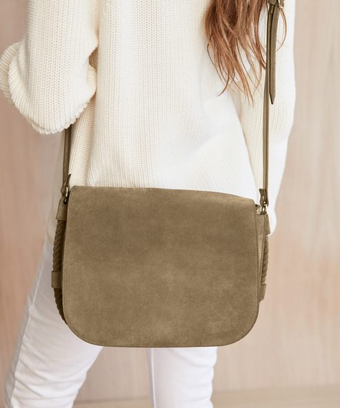 Large Suede Saddle Bag